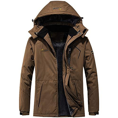FEDTOSING Winterjacke Herren Wasserdicht Winddichte Übergangsjacke Fleece Futter Softshell Jacke Warme mit Abnehmbarer Kapuze(EUBrown 2XL)