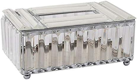 Creely Caja de pañuelos de cristal de lujo Contenedor de almacenamiento de escritorio Decoración de papel toalla caso bandeja de servilleta para el hogar Hotel-Plata
