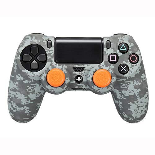 FR·TEC - Funda camuflaje de silicona Digital Black para el mando Dualshock 4 + Grips - PS4
