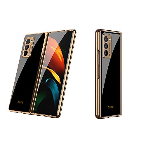 Luxury Plating Painted Shockproof Glass Phone Case Compatible for Samsung Galaxy Z Fold 2 (Mysterious Black)