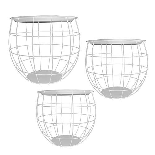 Cepewa Beistelltisch 3er Set Design rund aus Metall in schwarz weiß grau Silber Kupfer oder Gold Ø 29 cm Ø 38 cm Ø 50 cm (weiß)