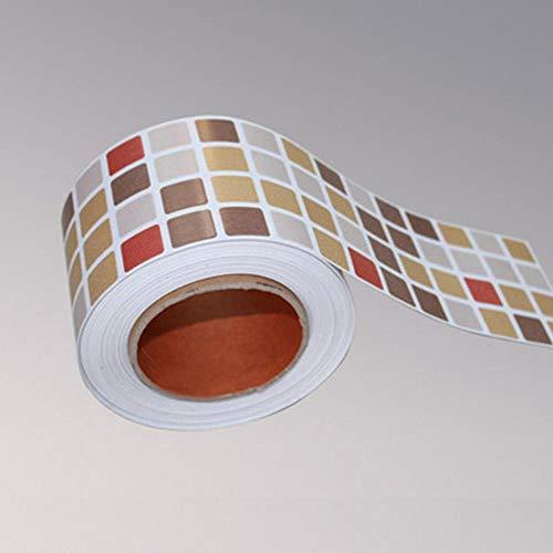 Classical Mosaic Vinyl Waterproof Self Adhesive Wallpaper Kitchen Bathroom Toilets Tile Waistline Wall Sticker Border Decoration