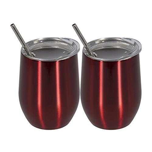 Juego de 2 vasos de vino de acero inoxidable para cerveza, vino, vaso de vino con tapa+pajita+cepillo de limpieza, mango de leche (capacidad: 12 onzas, color: 3)