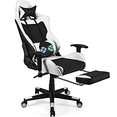 POWERSTONE Massage Gaming Chair with Footrest - Office...