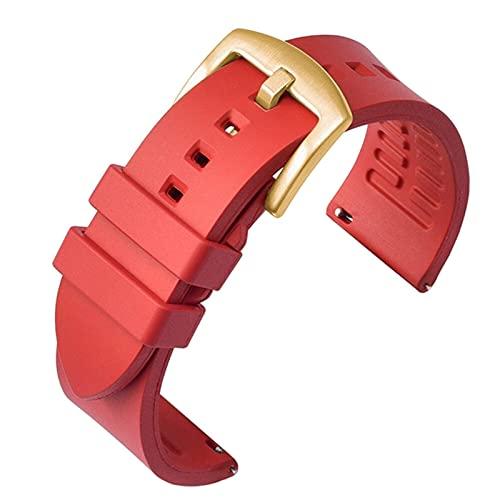 FETTR Correa de reloj de 19 mm, 20 mm, 21 mm, 22 mm, 24 mm, liberación rápida, pulsera de silicona deportiva (color rojo: 03, tamaño: 19 mm)
