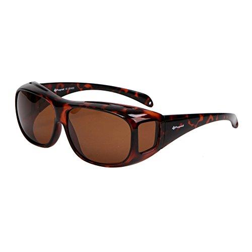 Freeprint Polarized Solar Shield Fit Over Glasses Driving, Leopard, Size No Size