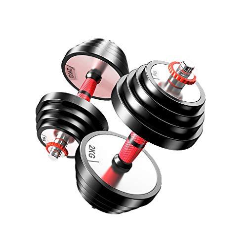 WFS Pesas Gimnasio Pesos Mancuernas Ajustables de Acero sólido con Mancuernas Set Biela Hombres Mujeres Peso de la Aptitud Gimnasia Musculación (Peso : 20Kg(10Kg*2))