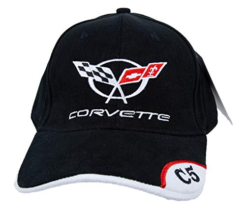 A&E Designs Chevy Corvette Hat C5 Deluxe Embroidered Cap, Black