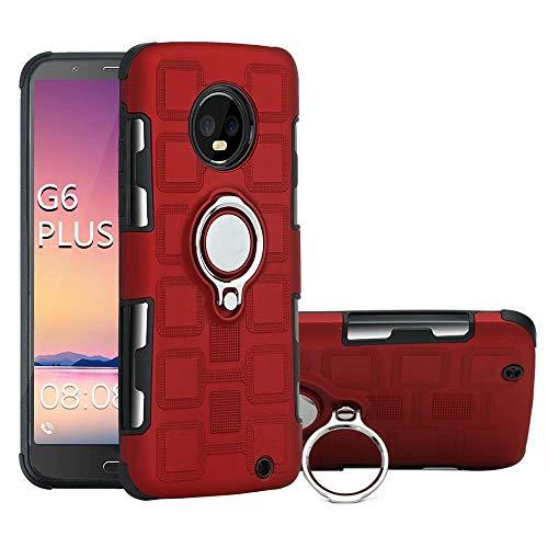 Yhuisen Armor - Funda de protección 2 en 1 con soporte giratorio para anillo de dedo, soporte magnético para coche, compatible con Motorola Moto G6 Plus (2018) (color rojo)