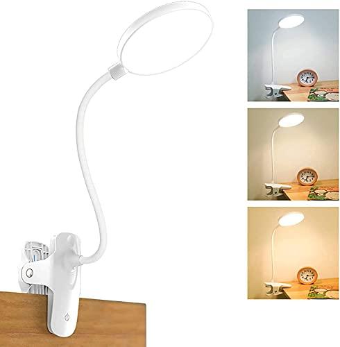 Leselampe Buch Klemme,Mefine 20 LED Klemmleuchte Bett Schreibtischlampe,3 Helligkeit 3 Farbtemperaturen Touch-Steuerung, USB Wiederaufladbar Klemmlampe,360° Flexibel Schwanenhals [Energieklasse A+++]