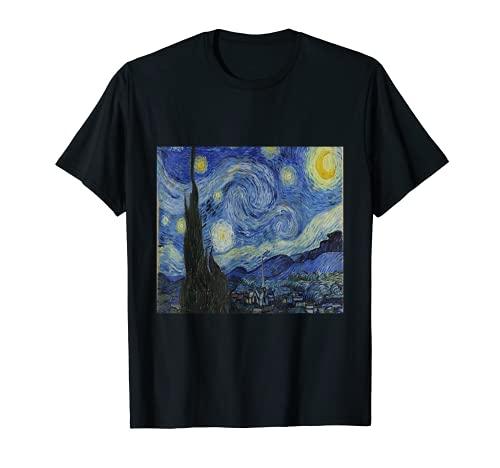 Starry Nigh Van Goght Sternennacht Kunst Aquarellfarben T-Shirt
