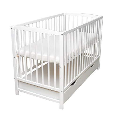 Cuna de bebé maciza, con cajón, 120 x 60 cm, madera maciza, incluye colchón de espuma, color blanco