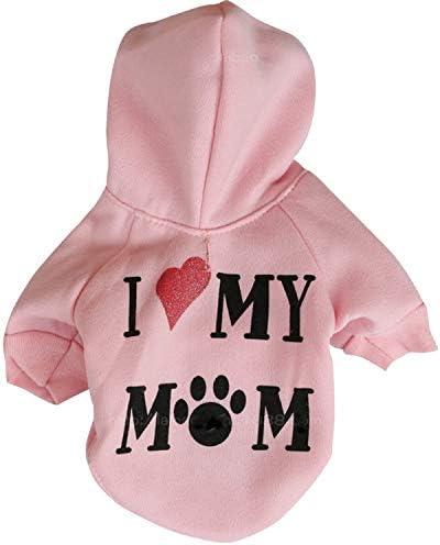 Rosa Ollypet Winter//Herbst Collection Kapuzenpullover I Love My Mom f/ür kleine Hunde