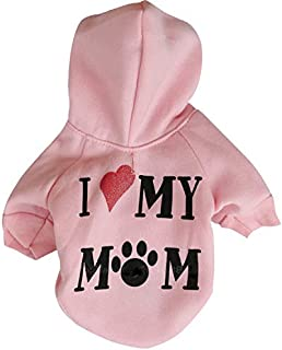 Ollypet Winter/Fall Collection Pink Hoodie I Love My Mom Sweater for Small Dogs