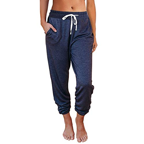 AUTOMET Womens Sweatpants Comfy Drawstring Athletic Lounge Yoga Pants Workout Joggers Pants with Pockets Navy Blue