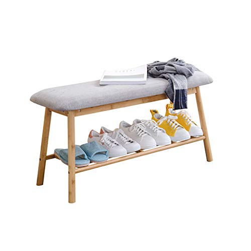 ZZYE Shoe Rack Wooden Shoe Rack Storage Bench | Nordic Style Hallway Bedroom Upholstered Bench with Gray Seat Cushion Bed End Stool Shoe Racks Shoes Organizer (Size : 60cm)