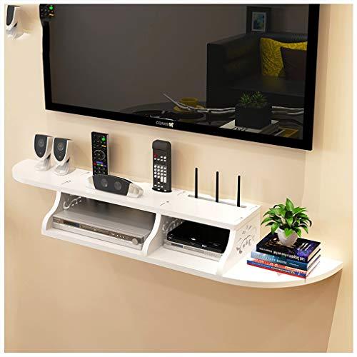 LZG 2 Tier Wandmontage Zwevende TV Plank Wit, Kast plank TV Console Router Plank DVD Set-top Box Telefoon Opslag Rack Hangende Doos