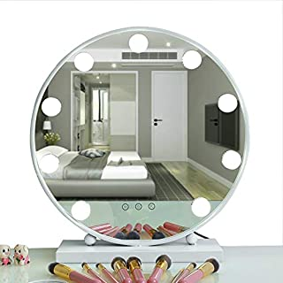 AIMEE-JL Lighted Makeup Mirror Hollywood Style Vanity Mirror Cosmetic Mirror Large Tabletop Makeup Dressing Mirror Dimmable Touch Control 9 LED Bulbs Lights 40CM Round (White)