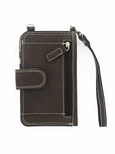 Custodia portatile a portafoglio 2 in 1 in pelle di vacchetta