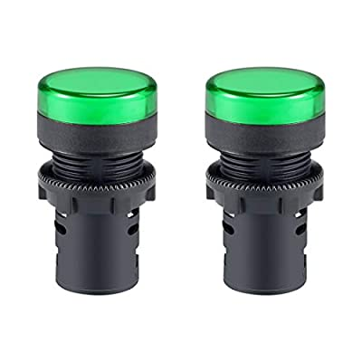 uxcell 2Pcs Green Indicator Light AC/DC 110V, 22mm Panel Mount, for Electrical Control Panel, HVAC, DIY Projects