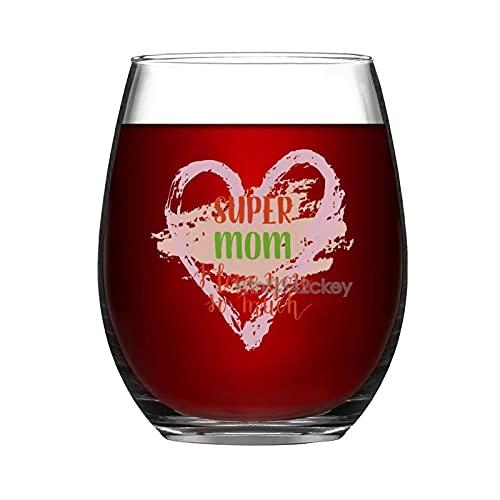 Copas de vino divertidas, Super Mom, I Love You So Much sin tallo, 15 onzas, vaso de vino, copas de bebida para fiestas, copas de vino gigante, copas de vino blanco tinto, regalos para mamá y mujeres