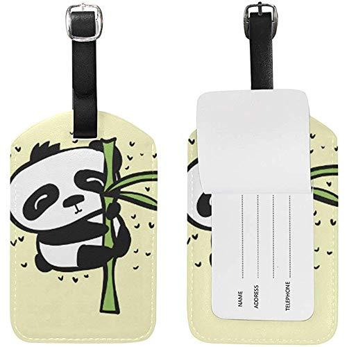 Bambú Pnada Imprimir Cuero Equipaje Equipaje Maleta Etiqueta de identificación Etiqueta para Viajes (2 Piezas)