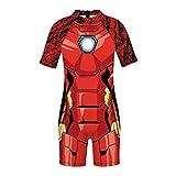 ZYZQ Kinder Badekostüm Einteiler Superheld-Badebekleidung mit Kappe Kurzarm Ausdrehfächer Badeanzug Jungen Mädchen Badeanzug UV-Schutz 2-10 Jahre, Iron Man~B-S