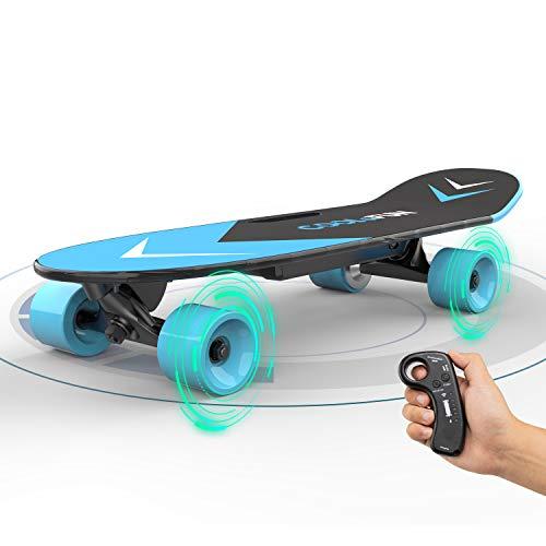 Skateboard Électrique avec télécommande Longboard pour enfants et adultes, modes de moteur à deux vitesses 150W, cadeaux de planche à roulettes portatifs pour les enfants