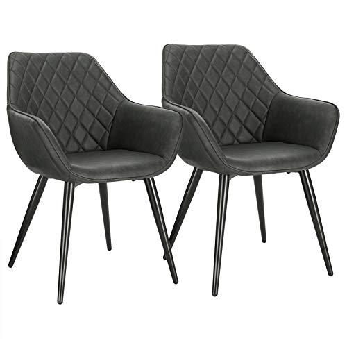 WOLTU Esszimmerstühle BH251an-2 2er Set Küchenstühle Wohnzimmerstuhl Polsterstuhl Design Stuhl mit Armlehne Kunstleder Gestell aus Stahl Anthrazit