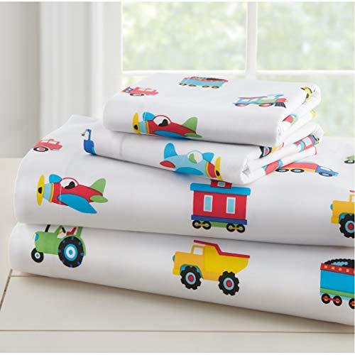 Wildkin Kids 100% Cotton Toddler Sheet Set for Boys & Girls, Bedding Set Includes Top Sheet, Fitted Sheet, Standard Pillow Case, Bed Sheet Set for Cozy Cuddles, BPA-free (Trains, Planes, & Trucks)