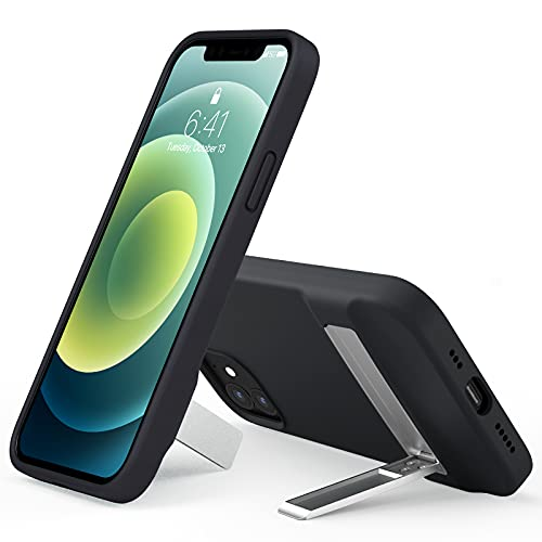 Miracase Metal Kickstand Case Compatible with iPhone 12 Case and iPhone 12 Pro Case 6.1 inch(2020),[Three-Ways Stand] Liquid Silicone Gel Rubber Full Body Protection Case(Black)