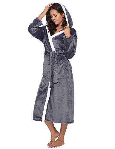 Aibrou Femme Peignoir Polaire à Capuche avec 2 Poches Hiver Peignoir de Bain Flanelle Robe de Nuit Flanelle, Gris, M (: 38-40)