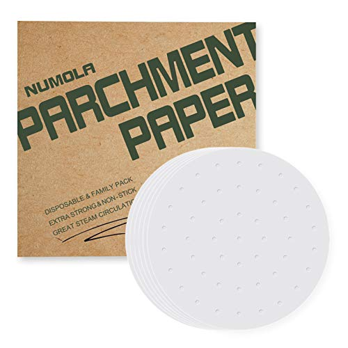 Numola Air Fryer Liners - 9 Inches, Besego 100 pcs Perforated Parchment Paper Compatible with Philips, Cozyna, Secura, NuWave Brio, Chefman, GoWISE USA, COSORI and More 5.3~5.8 qt Air fryers
