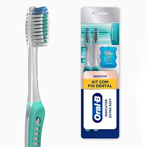 Kit Oral-B Escova Dental Sensitive Indicator Extra Macia + Fio Dental Satin Floss 5m