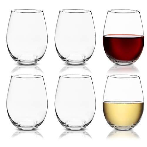 BELLE VOUS Weingläser ohne Stiel (6-er Pack) - 580ml Gläser Bruchsicher Rotweingläser Weißweingläser Weinbecher Trinkgläser für Rotwein, Weißwein, Gin, Wasser, Saft und Cocktails