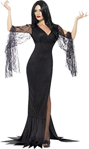 Smiffys Halloween-Kostüm für Damen, Vampir, Hexe, Unsterbliche Seele Gr. Kleid 38-40, Schwarz