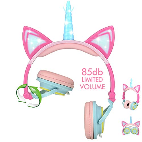 Nice2Mitu 2020 Upgrade Foldable Cat Ear Kids Headphones for Girls Tablet School Supplies, Led Glowing Headphones for Kids, Over On Ear Girl Headphones Toddlers Travel Birthday Gifts (Pink)