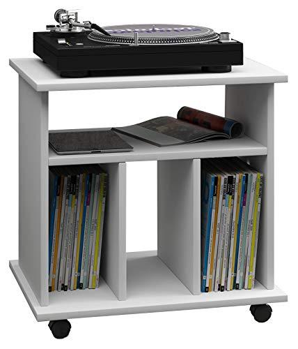 VCM LP Möbel Regal Schallplatten Phonomöbel Medienregal Schrank Stand Schallplattenspieler weiß 45 x 60 x 59 cm