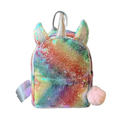 Fenical Rucksack Pailletten Einhorn Schultasche niedlich Glitzer Bookbag flippy Reise Daypacks für Frauen Kinder Mädchen - Regenbogen