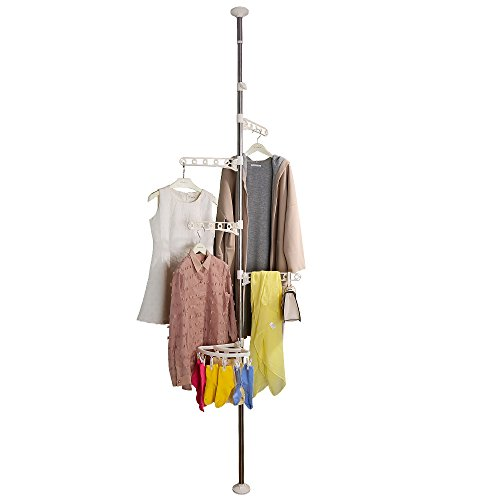 BAOYOUNI 4-Tier Standing Clothes Laundry Drying Rack Grament Coat Hanger Organizer Floor to Ceiling Adjustable Metal Corner Tension Pole Spce Saver with Socks Towel Clothespins White