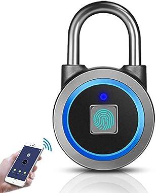 Fingerprint Padlock, Bluetooth Thumbprint Lock USB Rechargeable IP65 Waterproof Ideal for Locker, Handbags, Golf Bags, Wardro