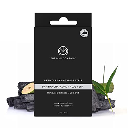 The Man Company Charcoal Nose Strips with Aloevera Extract | Whitehead & Blackhead Remover | Pores Cleanser | Dirt Free | Improves Skin Texture - 4 Strips