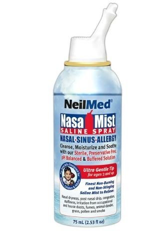 Neilmed Nasamist Isotonic Saline Spray For Allergy & Sinus Sufferers, 75 ml (Pack of 2)