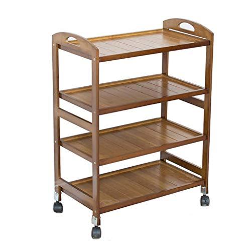 Rolling Cart Trolley Bamboe Office Printer Plank 4 Laag Nagel Winkel Locker Keuken Groente Fruit Opslag Auto