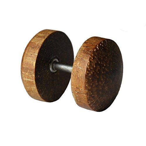 Fake Plug Ohrstecker Holz Größe 10 mm, Material Teak