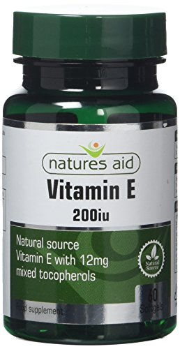 Natures Aid Vitamin E 200iu 60 Softgels (Natural Source Vitamin E, Protects Cells from Oxidative Stress, Made in the UK)