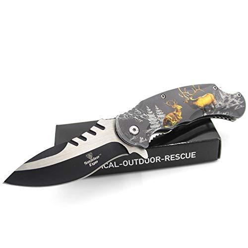 Snake Eye Everyday Carry Wildlife Design Ultra Smooth One Hand Opening Folding Pocket Knife - Ideal...
