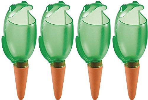 4er-Set Bewässerungskugel Blumenbewässerung Wasserspender *Froggy* grün - H15cm/140ml