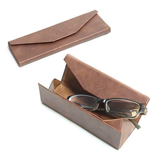 折りたたみめがねケース 極薄 ポータブル コンパクト サングラスケース 老眼鏡ケース レザー調 ブラウン