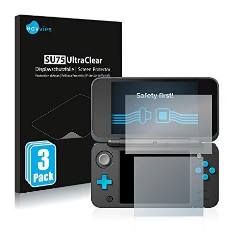 savvies Protector Pantalla Compatible con Nintendo 2DS XL (6 Unidades) Película Ultra Transparente